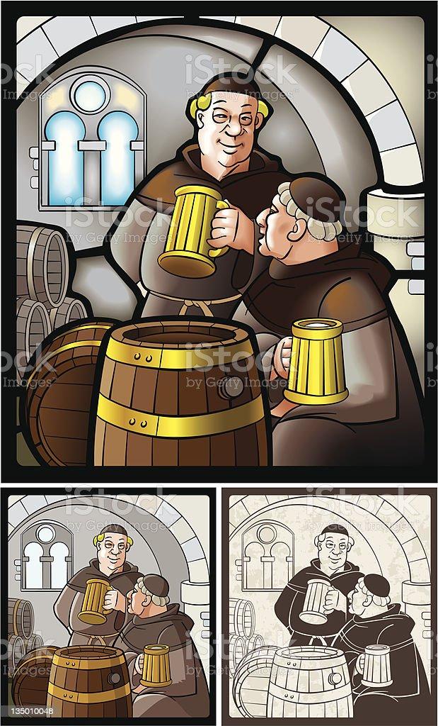 Monks_with_beer - ilustración de arte vectorial