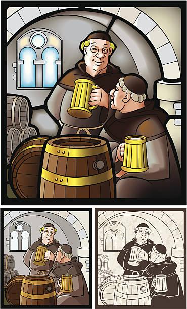 ilustraciones, imágenes clip art, dibujos animados e iconos de stock de monks_with_beer - hermano