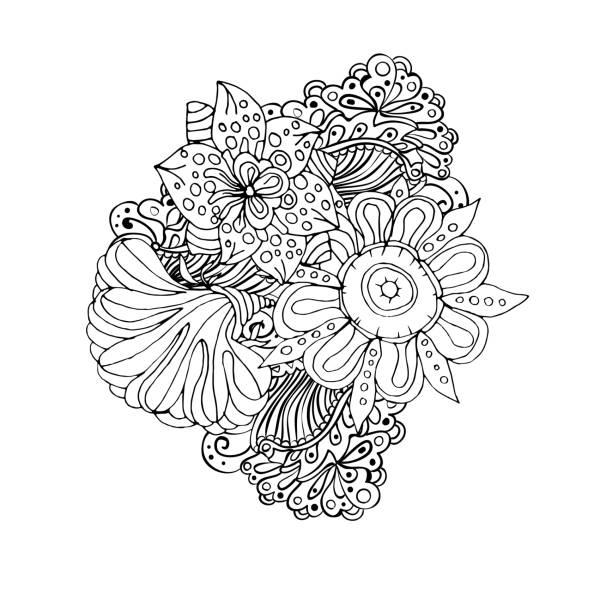 ilustrações, clipart, desenhos animados e ícones de mono cor preta linha arte element para adulto livro de colorir - fontes de tatuagem