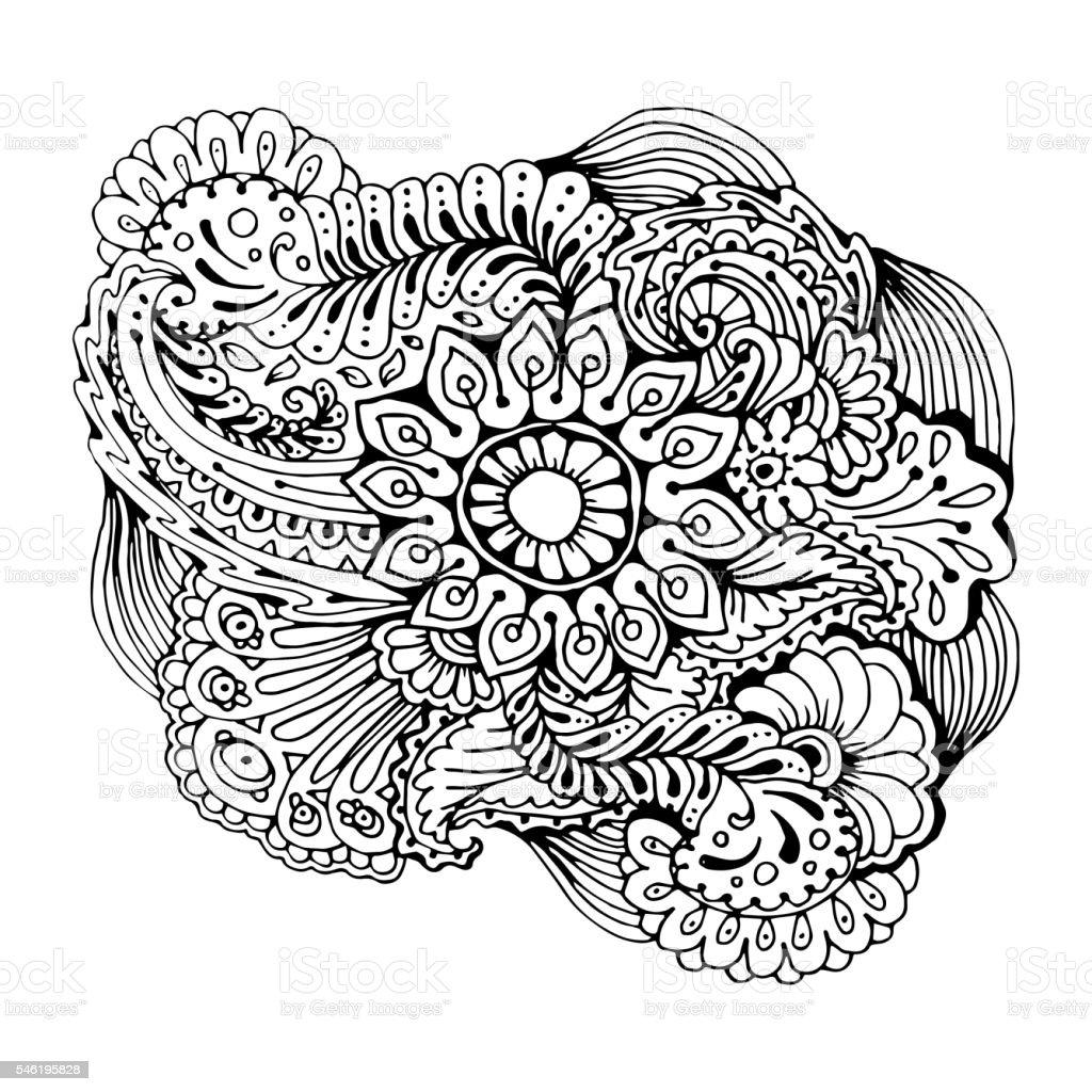 Mono color black line art element for adult coloring book page...