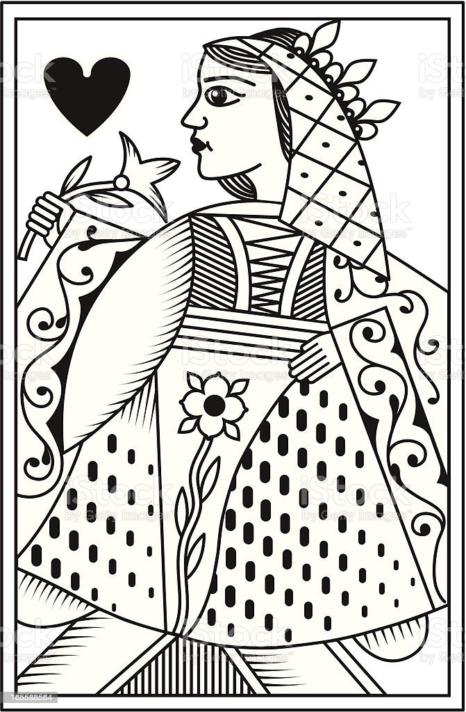 Mono French Queen of Hearts playing card royalty-free stock vector art