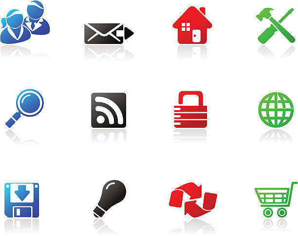 mono icons | series one - byteandpixel stock illustrations