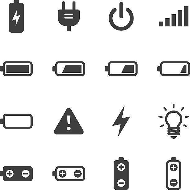 Mono Icons Set | Battery & Power An illustration of battery & power icons set for your web page, presentation, & design products. full stock illustrations