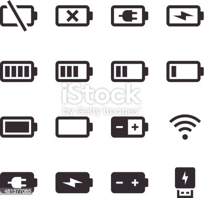 An illustration of battery & power icons set for your web page, presentation, & design products.