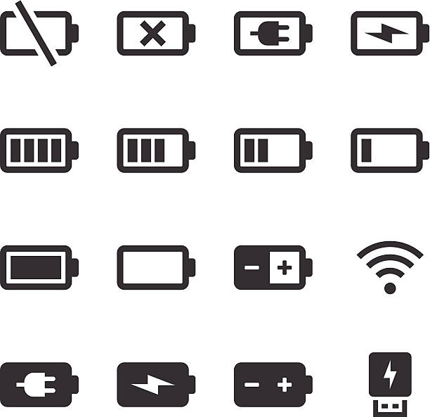 Mono Icons Set | Battery & Power An illustration of battery & power icons set for your web page, presentation, & design products. lithium stock illustrations