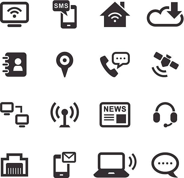 모노 아이콘 세트/통신 - home icon stock illustrations