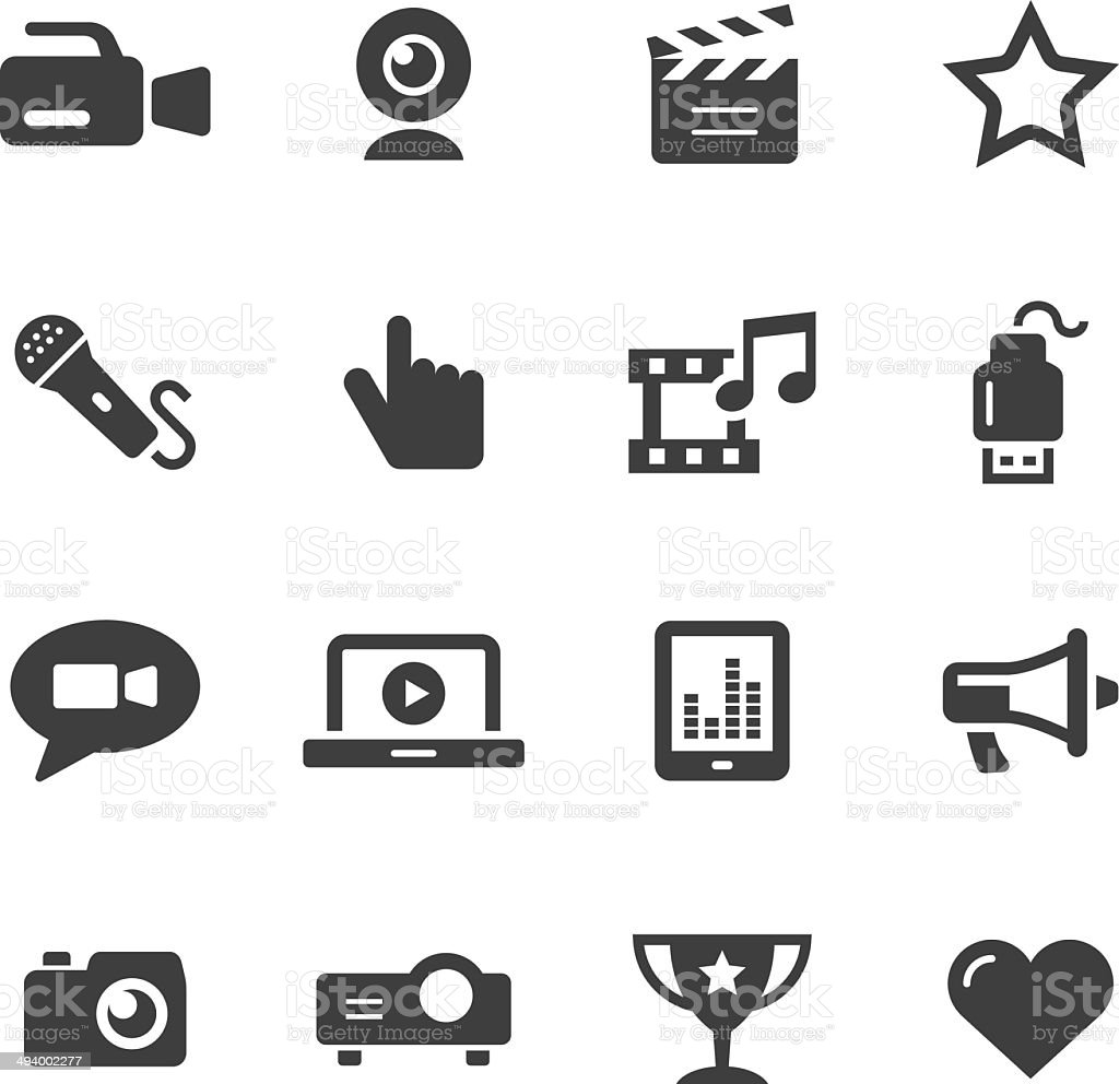 Mono Icons Set | Entertainment vector art illustration