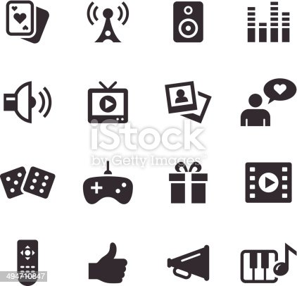 An illustration of entertainment icons set for your web page, presentation, & design products.