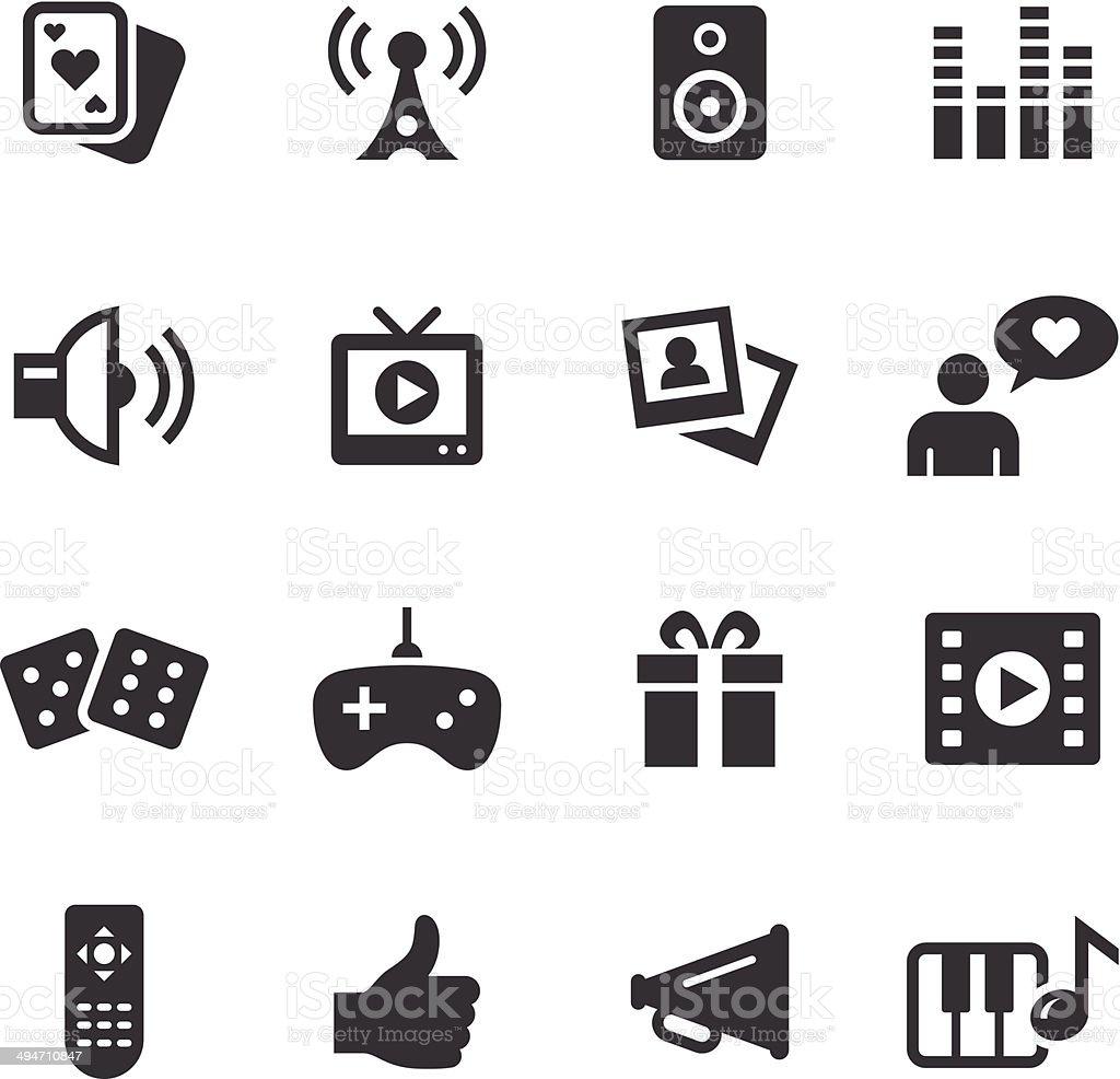 Mono Icons Set   Entertainment vector art illustration