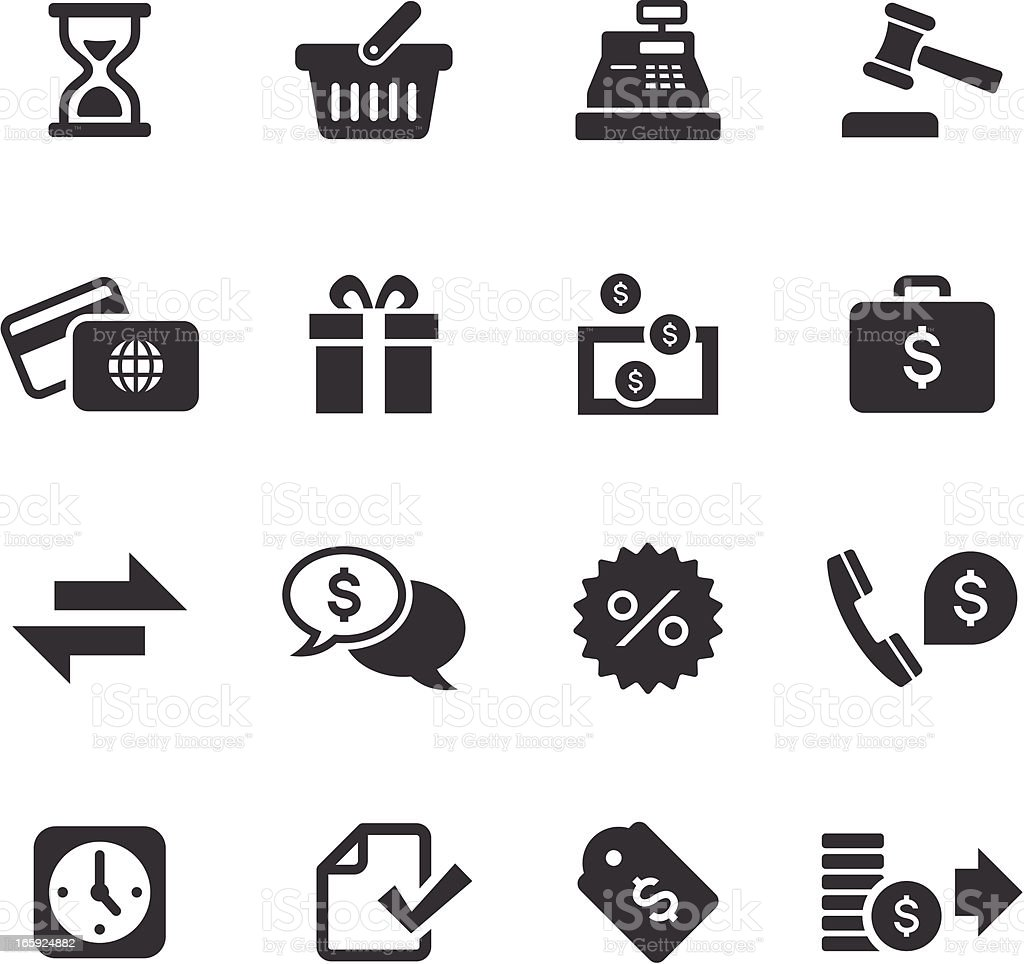 Mono icons set of banking and finance vector art illustration