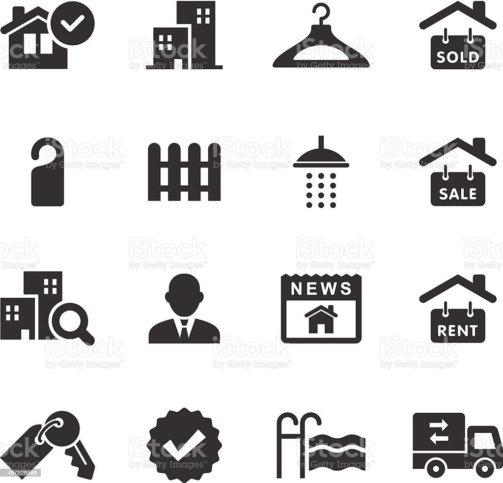 Mono Icons Set | Real Estate vector art illustration