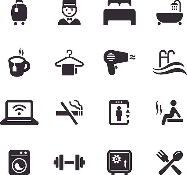 mono-icons set/reisen - sauna stock-grafiken, -clipart, -cartoons und -symbole