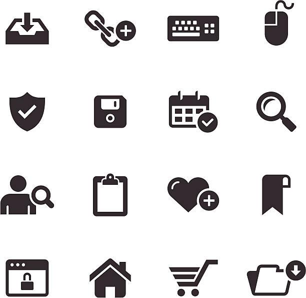 모노 아이콘 세트/웹 & 인터넷 - home icon stock illustrations