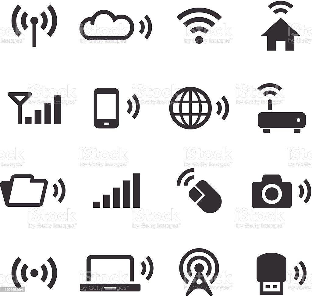 Mono Icons Set | Wireless Technology vector art illustration