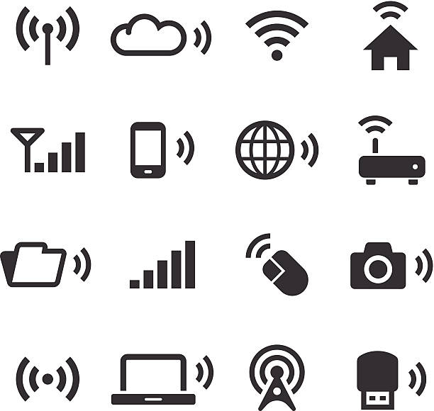 Mono Icons Set | Wireless Technology An illustration of wireless technology icons set for your web page, presentation, & design products. bluetooth stock illustrations