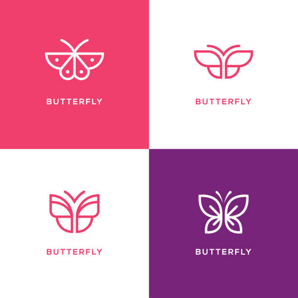 mono line butterfly icon set. - butterfly stock illustrations