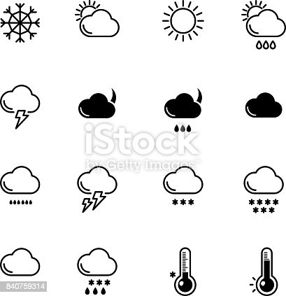 Mono Line Icons Set Weather Symbols Wind Rain And Sunny