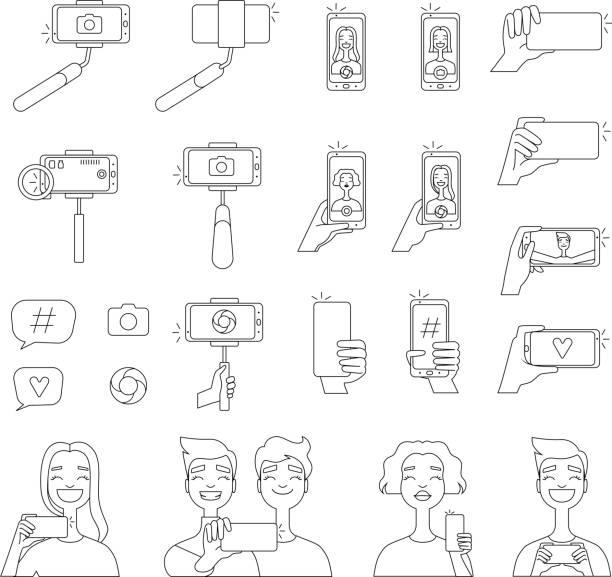 mono line bilder von verschiedenen tools für selbst fotografie. selfie konzept illustrationen - selfie stock-grafiken, -clipart, -cartoons und -symbole