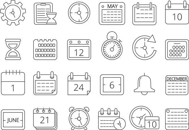 Mono line pictures set of time managements symbols vector art illustration