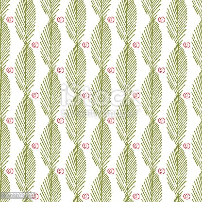 istock Mono print style leaves berries seamless vector pattern background. Vertical columns of green painterly foliage and abstract fruit shapes on white backdrop. At home hand crafted festive concept 1272762123
