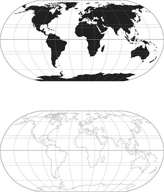 Welt in Mono-Karte – Vektorgrafik