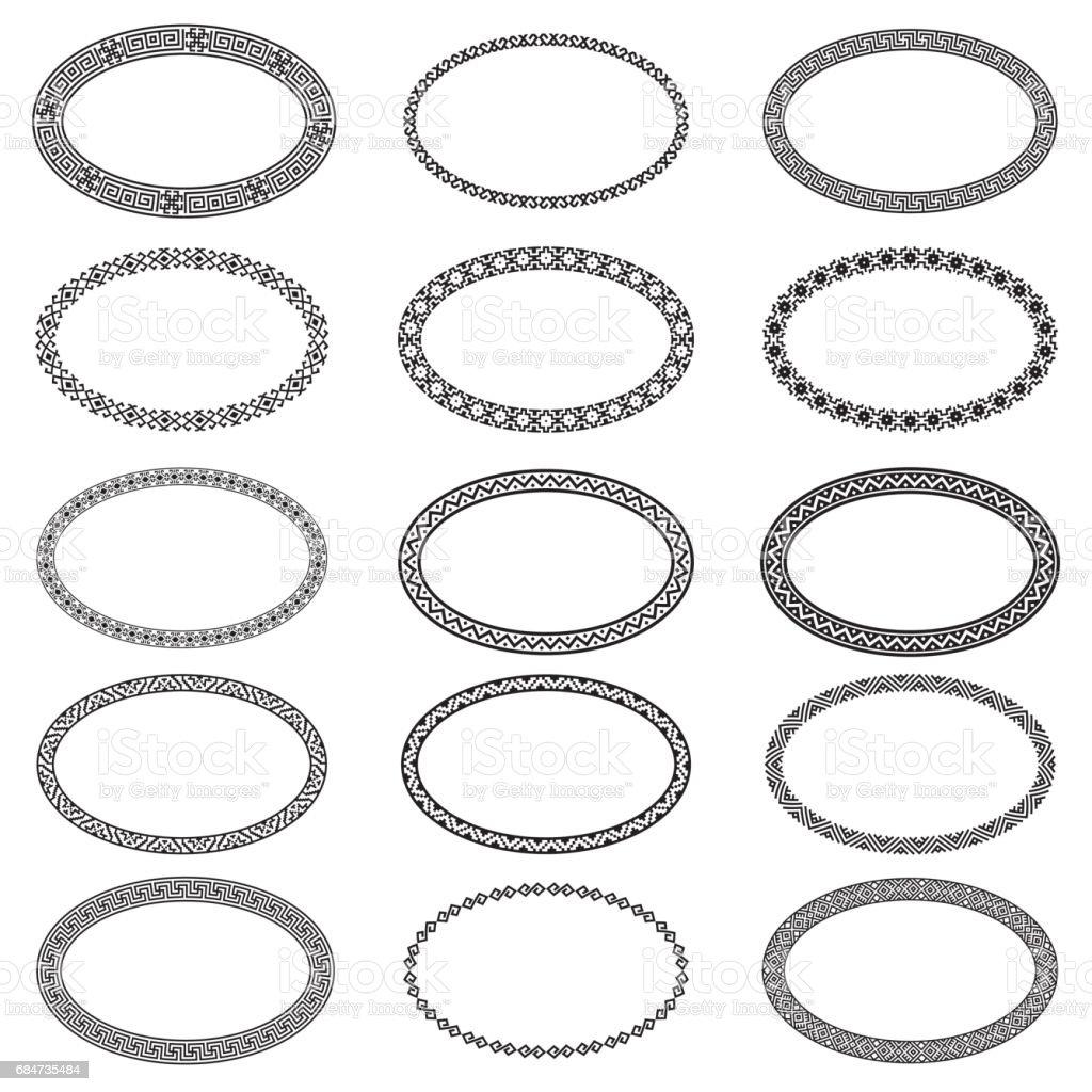 Monochromatische Ethnischen Ovale Rahmen In Sammlung Stock Vektor ...