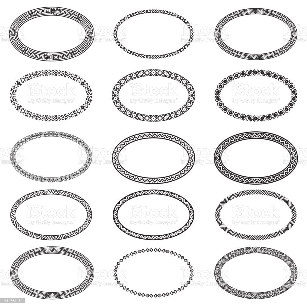 Monochromatic ethnic oval frames in collection vector art illustration