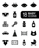 Monochromatic flat baby icons. Vector infographic