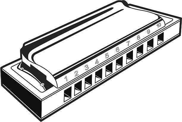 Monochromatic harmonica picture in perspective view vector art illustration