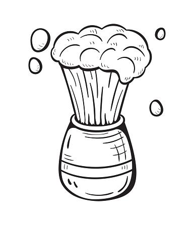 Monochromatic illustration of cartoon shaving brush