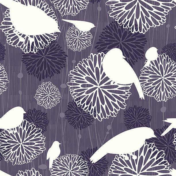 Monochromatic Seamless Bird and Mum Pattern vector art illustration