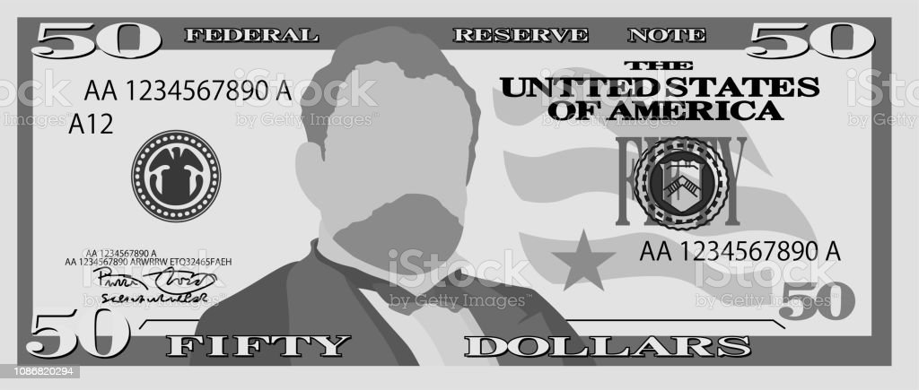 Monochrome 50 US dollar banknote vector art illustration