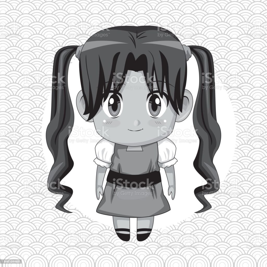 円形フレームと長いおさげ髪の髪型でかわいいアニメの女の子の白黒の抽象