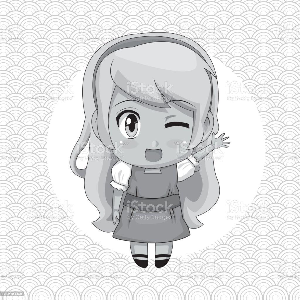 Tek Renkli Arka Plan Ile Dairesel çerçeve Ve şirin Anime Kız Wink