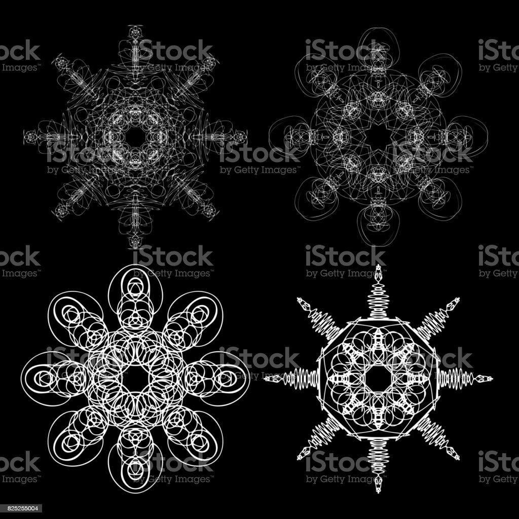 Monochrome Abstract Mandala Sacred Geometry Seed Flower Of Life