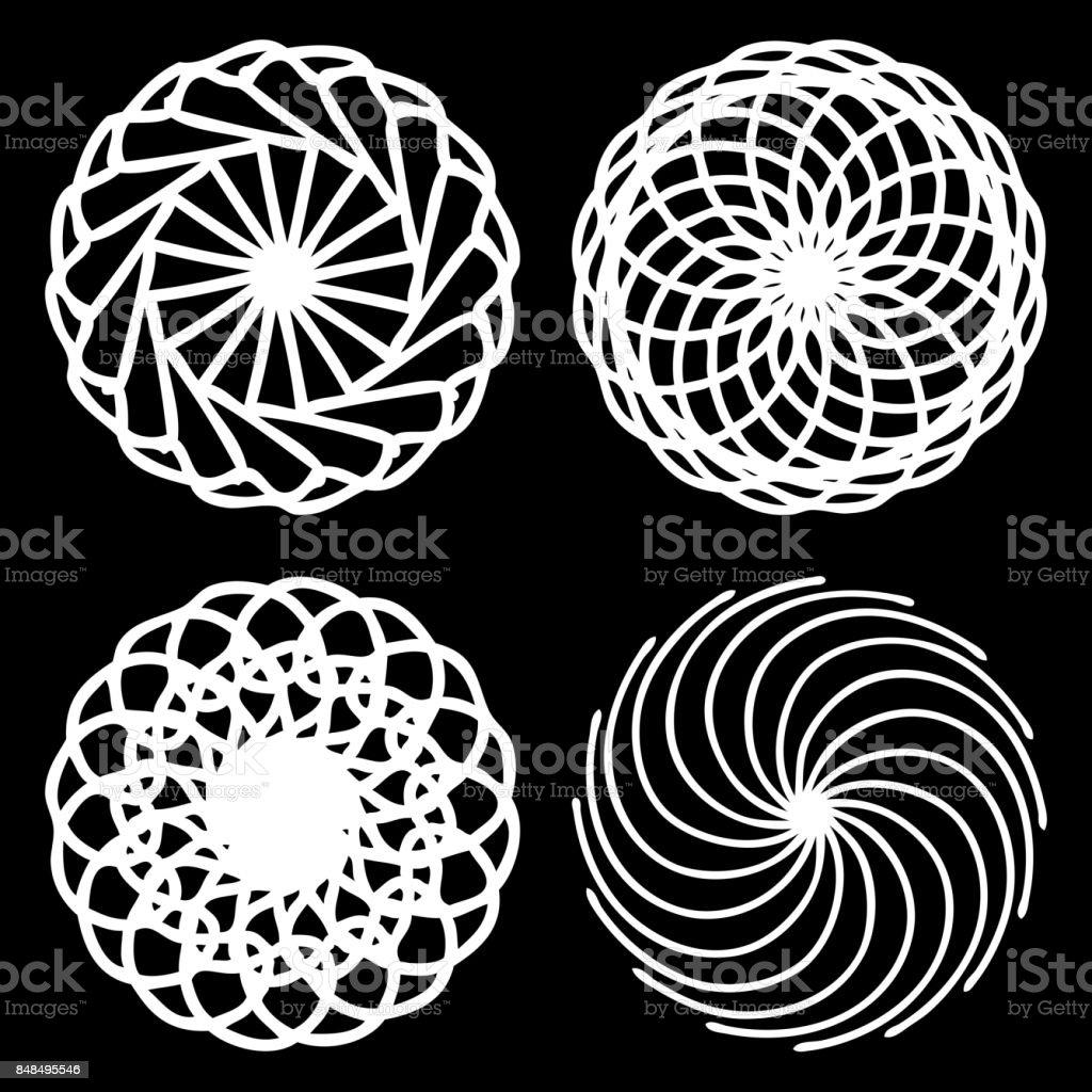 Monochrome Abstrakte Mandala Heilige Geometrie Saatgutblume Des