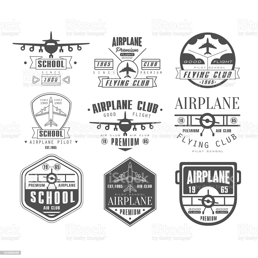 Monochrome Airplane Club Emblems vector art illustration