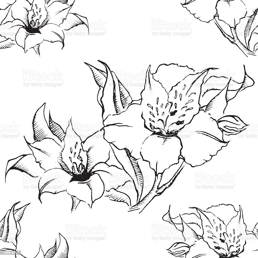 Monochrome alstroemeria floral seamless pattern texture background vector - ilustración de arte vectorial