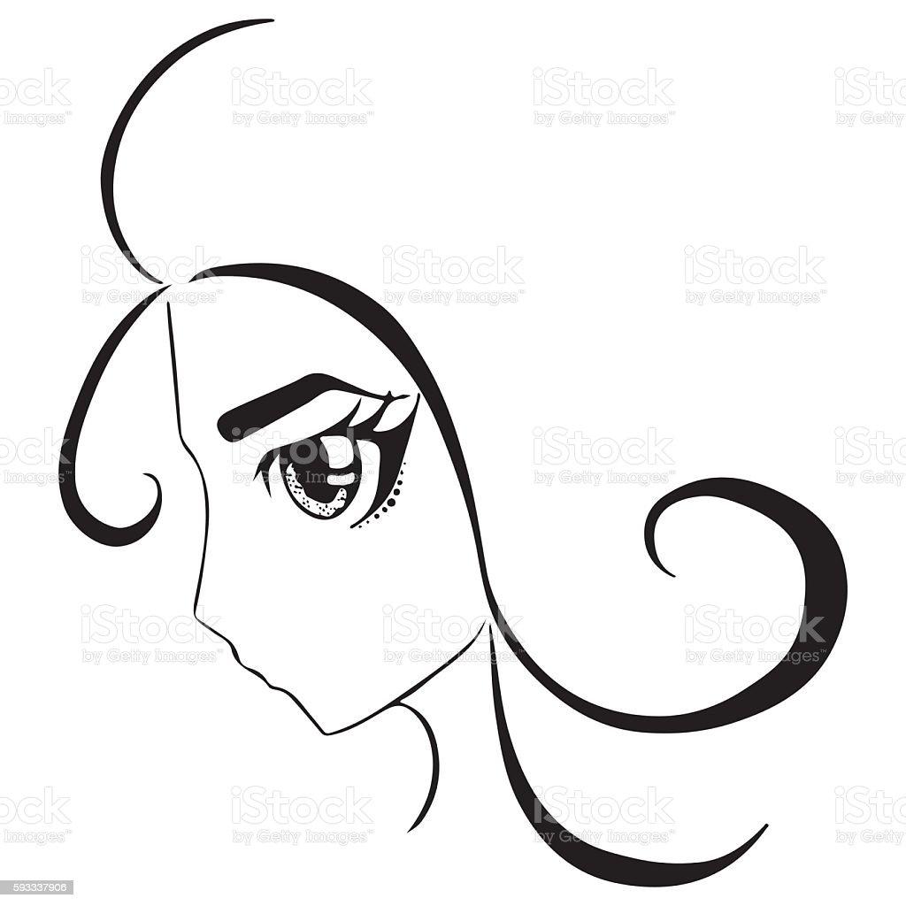 Monochrome anime manga girl portrait sketched art vector royalty free monochrome anime manga girl portrait