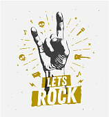 monochrome antique hipster vintage label , badge, crest rock and roll for flyer poster logo or t-shirt apparel clothing print with lettering hand and lightning