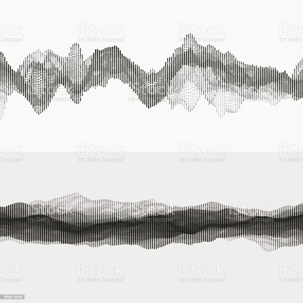 Monochrome audio waves vector art illustration