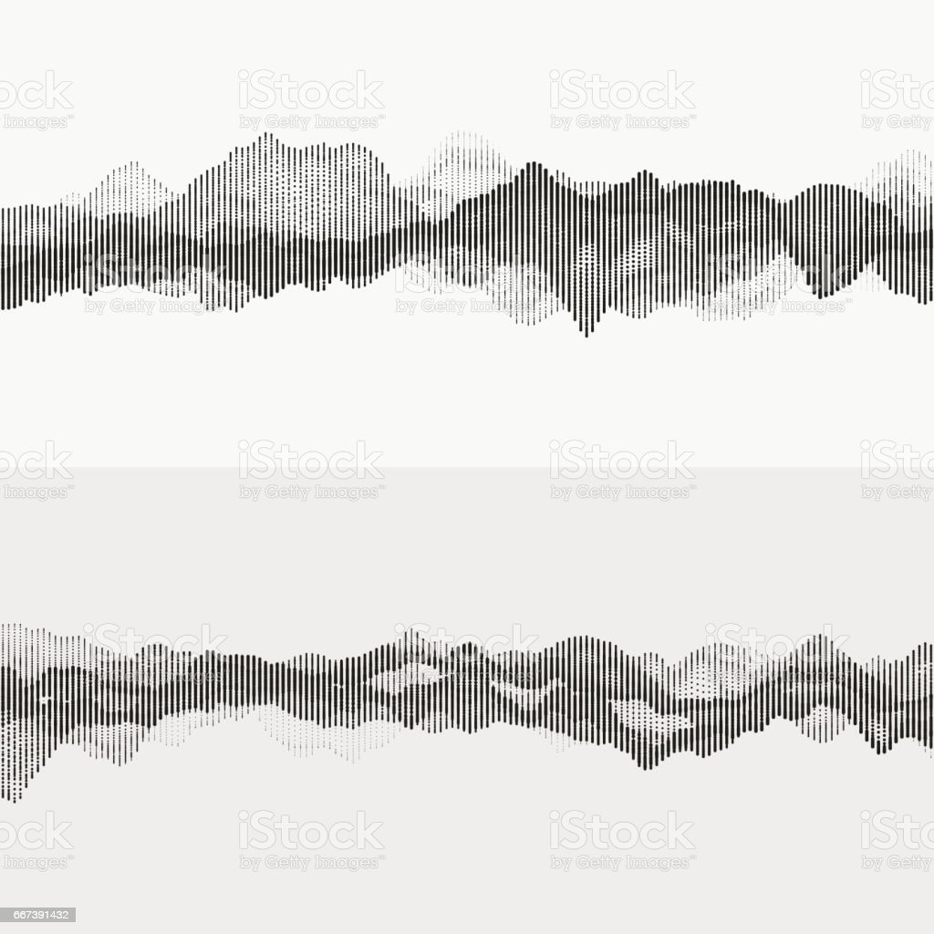 Monochrome audio waves vector art illustration