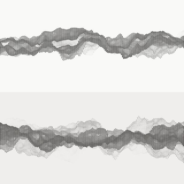 monochrome audio waves - sine wave stock illustrations