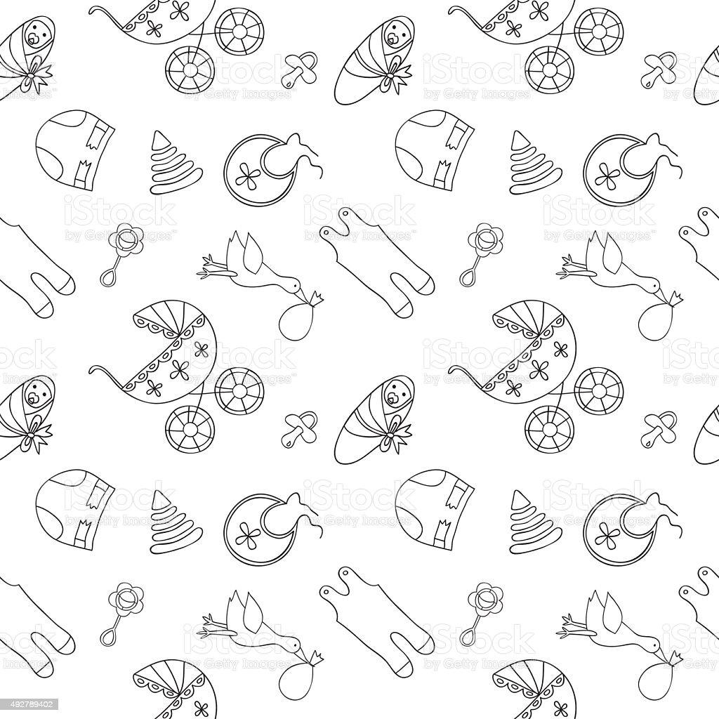 Ilustración de Monocromo Patrón Sin Costuras Bebé y más banco de ...