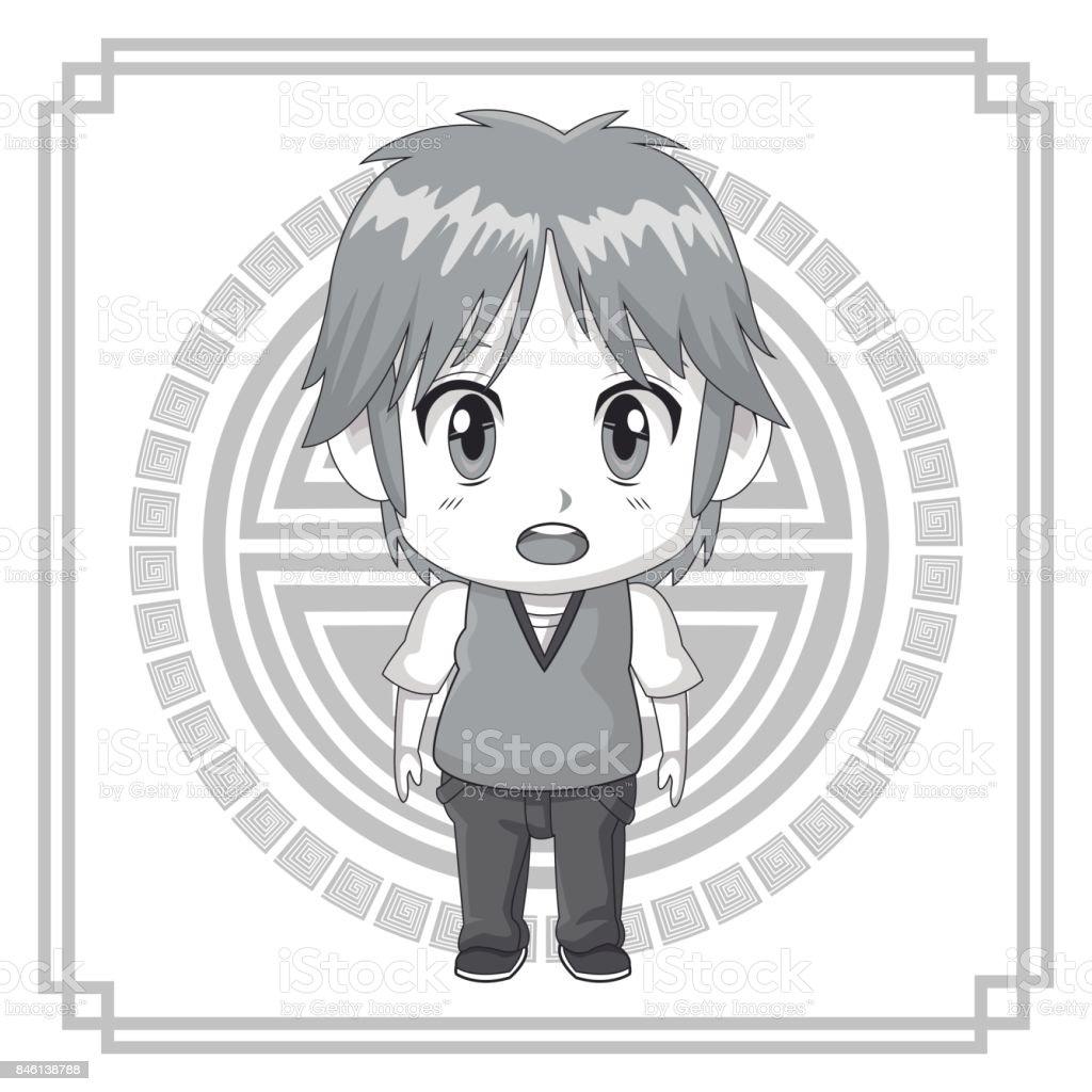 Tek Renkli Arka Plan Japon Sembol Siluet şirin Anime Tennager Yüz