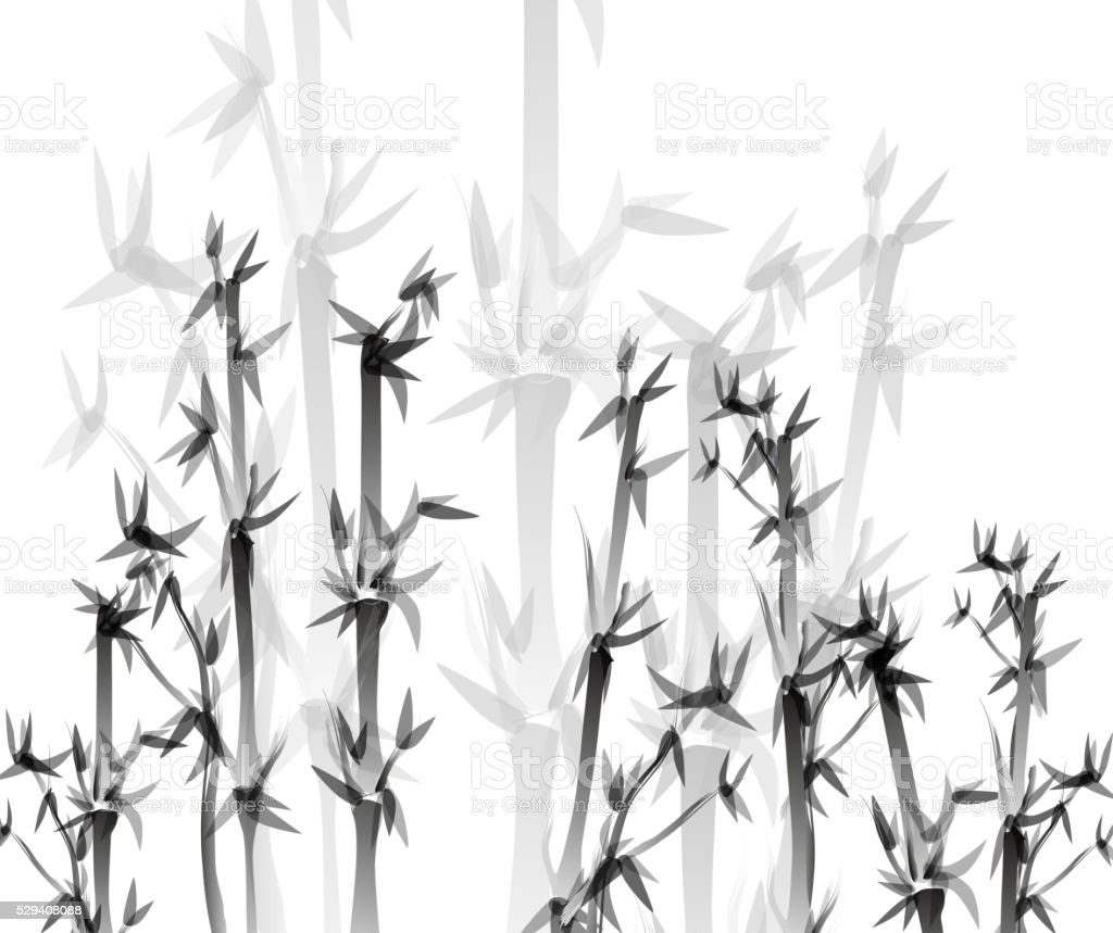 Monochrome bamboo pattern background vector art illustration