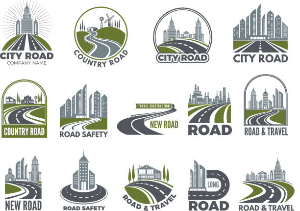 Monochrome big set of logotypes template with asphalt roads, expressway or highway Monochrome big set of logotypes template with asphalt roads, expressway or highway. Vector road and travel, expressway and speedway illustration highway stock illustrations