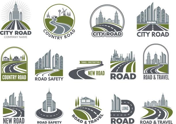 monochrome großen satz von logos vorlage mit asphaltierten straßen, schnellstraße oder autobahn - städtische mode stock-grafiken, -clipart, -cartoons und -symbole