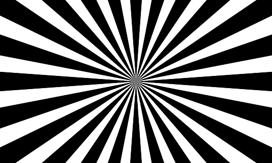 Monochrome black and white abstract sunburst pattern background.