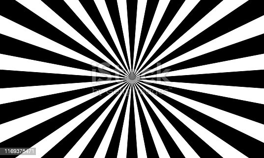 Monochrome black and white abstract sunburst pattern background.